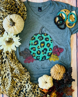 What's Up Pumpkin Animal Print & Leaf V Neck Graphic Tee