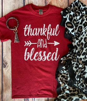 Thankful & Blessed Graphic Tee with Arrow on a Delta Pro Tee, Red