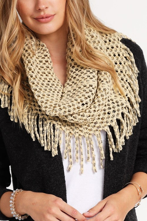Come Back Around Two Tone Infinity Scarf, Tan