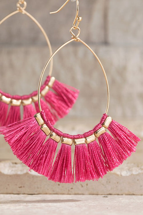 Tell Me More Fine Thread Tassel Fish Hook Earrings, PINK