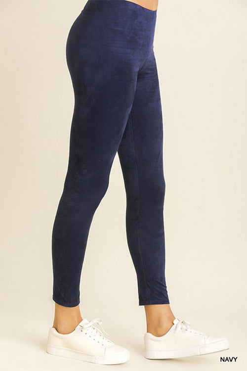 Meet Me At The Moon Easy To Wear Navy Suede Legging