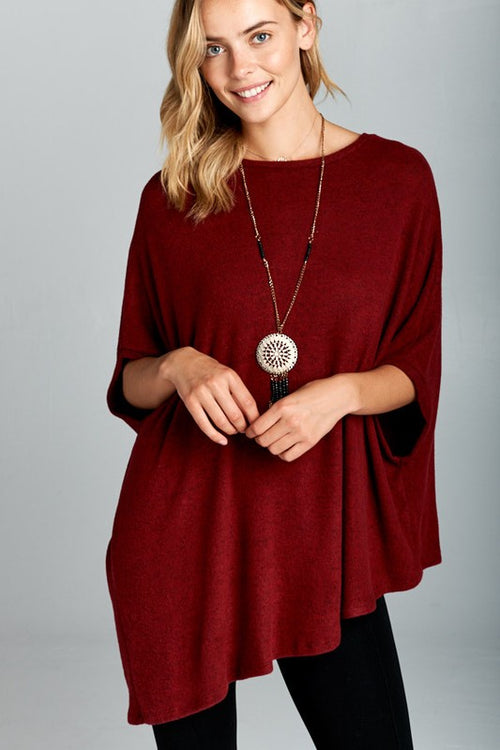 Goodbye Two Tone Soft Hacci Brush Asymmetrical Pullover Top, Burgundy