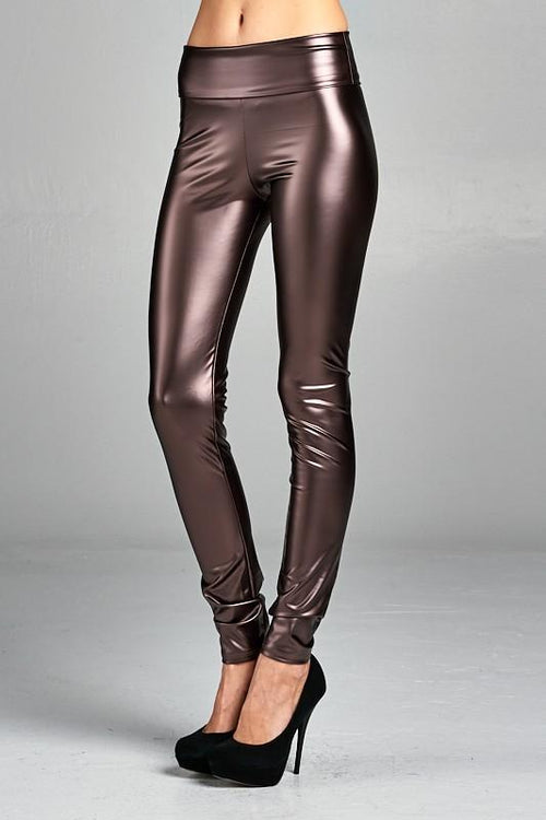 What A Girl Wants Faux Leather High Waist Pleather Leggings, Bronze