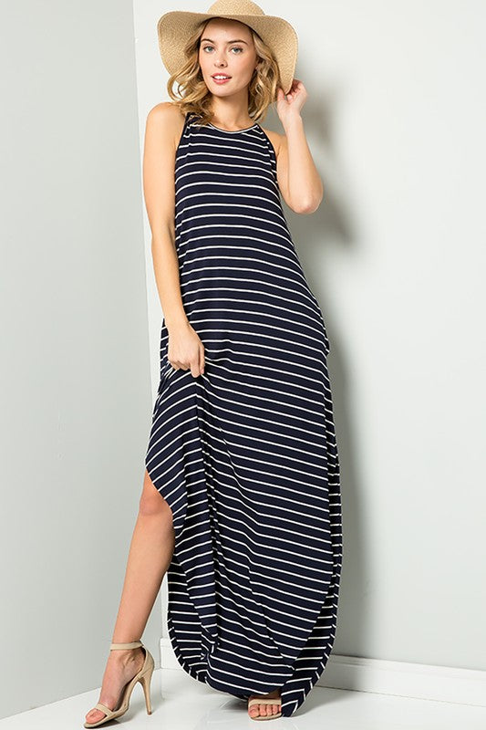 Hot Summer Nights Stripe Maxi Dress with Halter Top, Navy S-XL