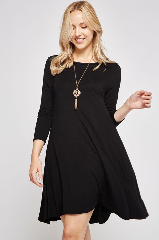 Heartbeat Solid A-line Dress with hidden pockets & 3/4 sleeves, Black