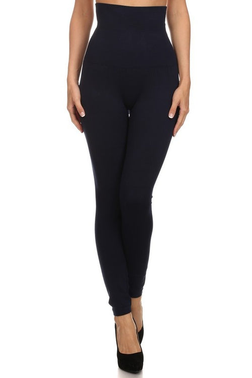 All of Me Long Skinny Leg Design High Waist Band Compression Leggings, Navy