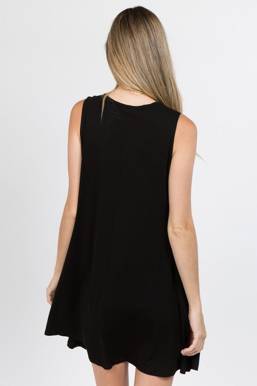 Sleeveless Criss Cross Crew Neck Tunic Dress, Black, S-L