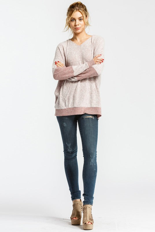 Free Woman Oversized Tunic V-Neck Long sleeve Hoodie Top with Kangaroo Pocket