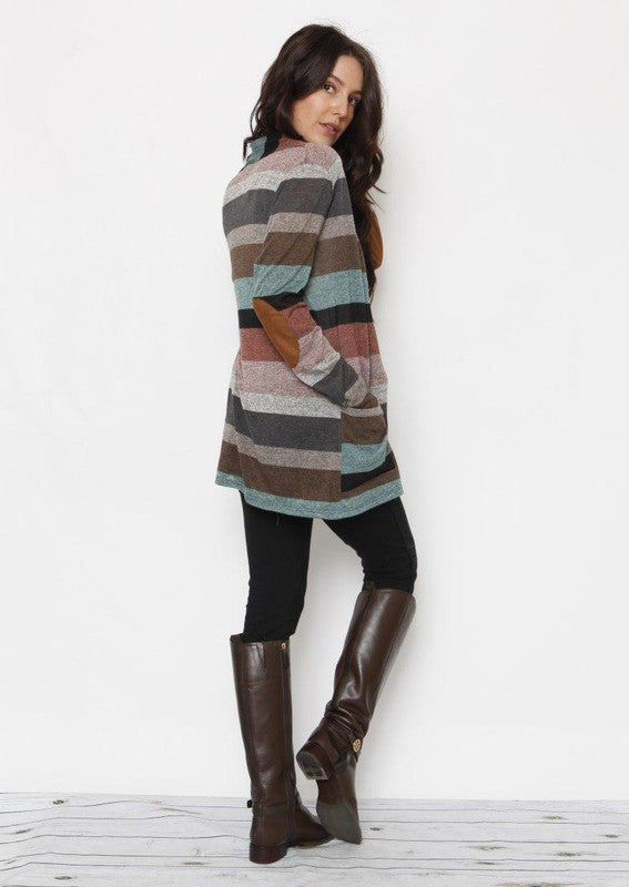 RESTOCKED!! Ships 8/17 Multi Stripe Long Sleeve Pocket Cardigan, Mint / Pink/ Charcoal, S-XL