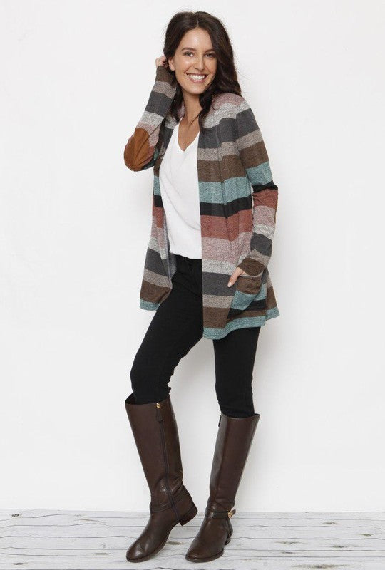 Multi Stripe Long Sleeve Pocket Cardigan, Mint / Pink/ Charcoal, S-XL