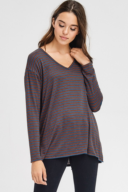 Simple Striped Stylish V-Neck Long Sleeve Side Slit Knit Top, Rust & Teal, S-XL