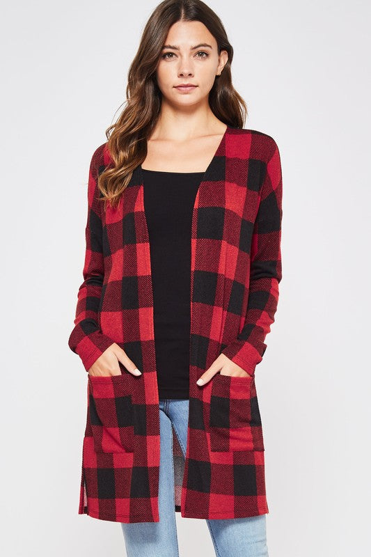 Conviction of the Heart Plaid Cardigan with Pockets & Split Hem