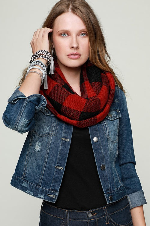 Back Around Woven Buffalo Checkered Infinity Scarf, Red