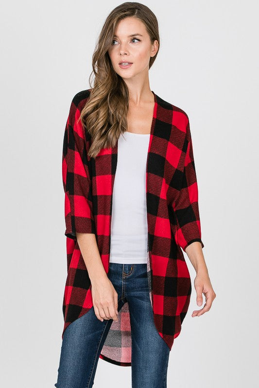 Forever Your Girl Plaid Print Open Fit Cocoon Style Cardigan with 3/4 Sleeves