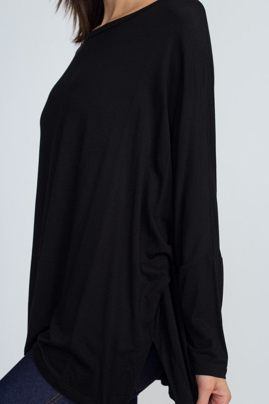 Meant To Be Dolman Sleeve Round Neck Oversized Top with Side Slits, Black