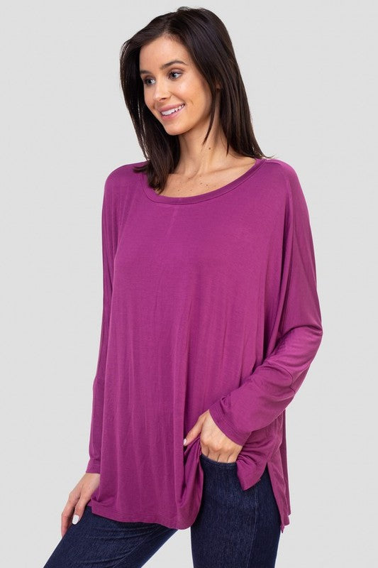 Meant To Be Dolman Sleeve Round Neck Oversized Top with Side Slits, Plum