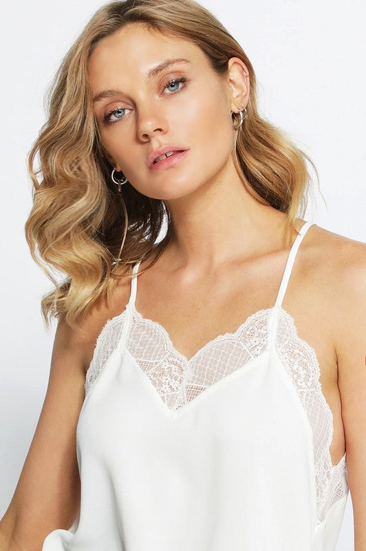 Be The One Racerback Lace V Neck Cami, White