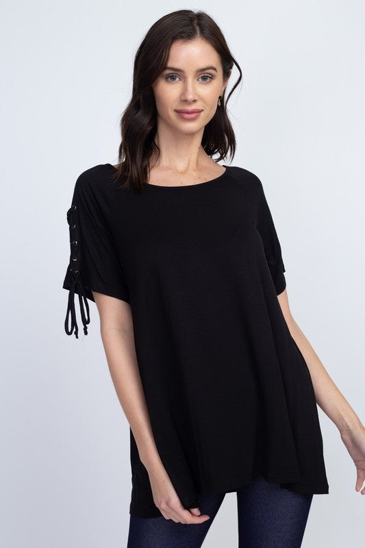 This Groove Round Neck, Short Sleeve with Lace Up Sleeves Top, Black