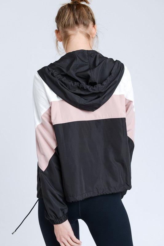 Walking In Memphis Color Black Hooded Jacket in White Mauve Black