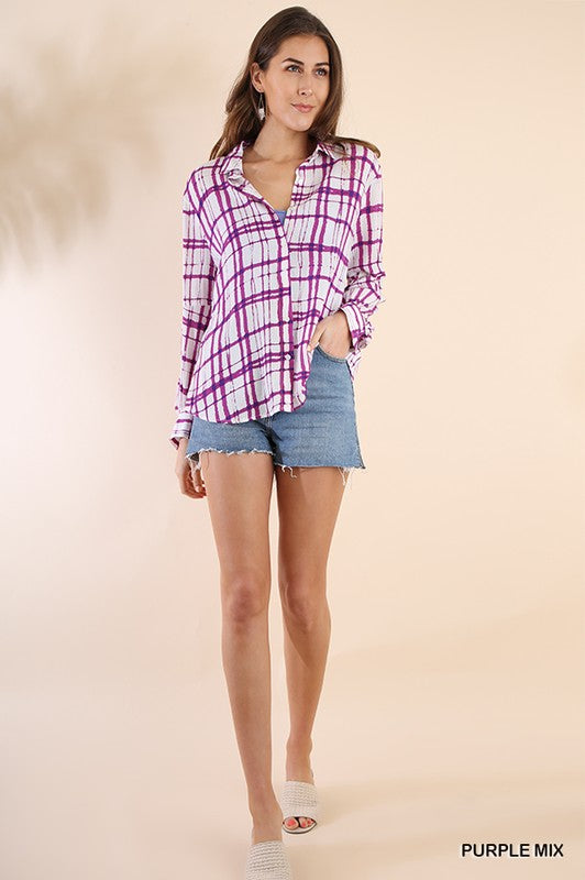 Be Like That Plaid Button Up Long Sleeve Collared Top, Purple