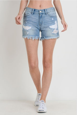 "Ladies High Rise Light Wash  No Rip Folded Hem 5"" Denim Shorts  by L&B"