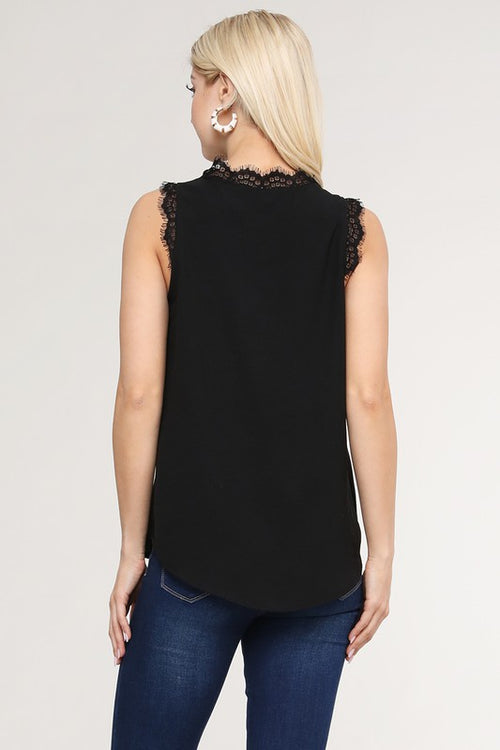 Eyelash V Neck Non Sheer Rounded Hem Tank Top, Black