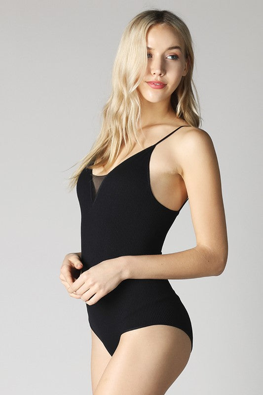 Little Black Deep V Neck Ribbed Bodysuit by Nikibiki