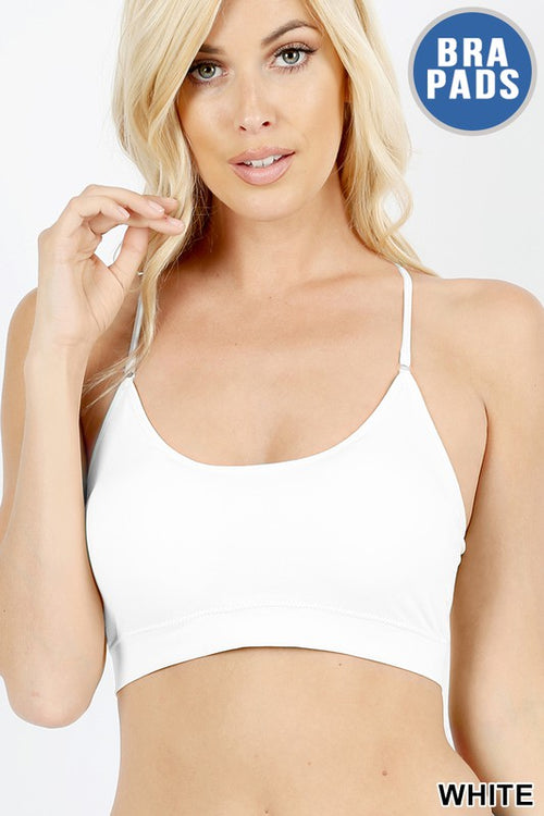 Padded Seamless Adjustable Strap Cross Back Bra, White, OS