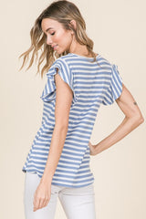 Simple Casual Short Sleeve Ruffle Sleeve Top, Blue & White Stripes