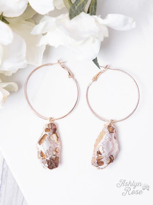 Trust Me Lightweight Geode Hoop Earrings, Tan