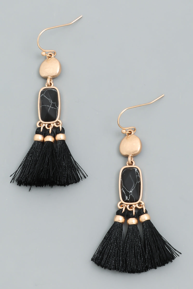 Most Of All Mini Fine Thread Stone Tassel Thread Earrings, Black