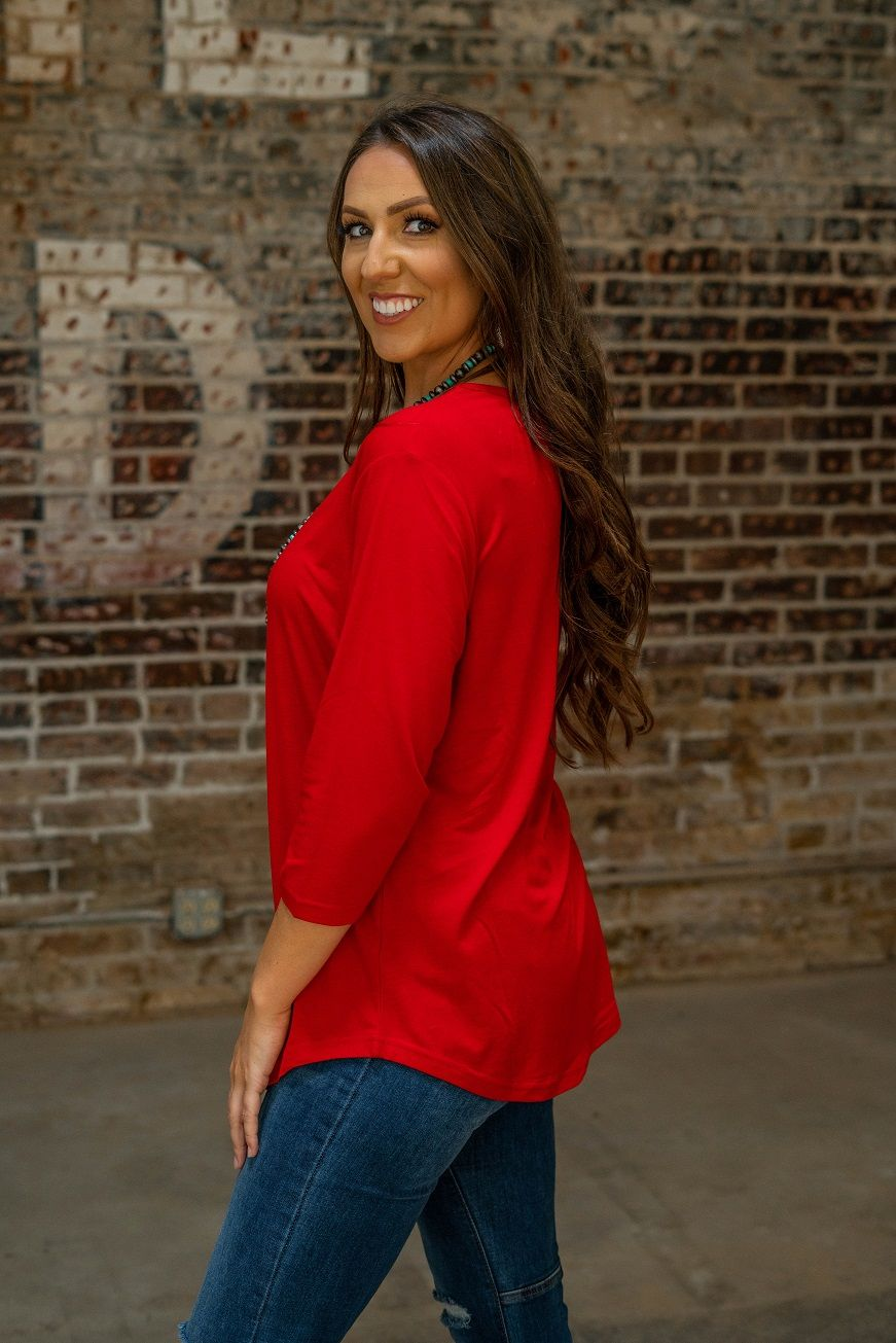 Red Basic Scoop Neck Top with 3/4 Sleeves
