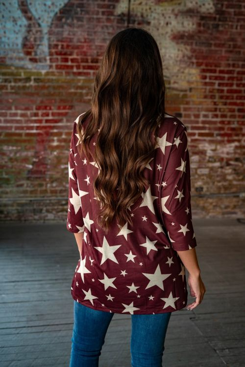Bright Lights Big City Star Tunic with Split Hi Lo Hem, Dark Maroon