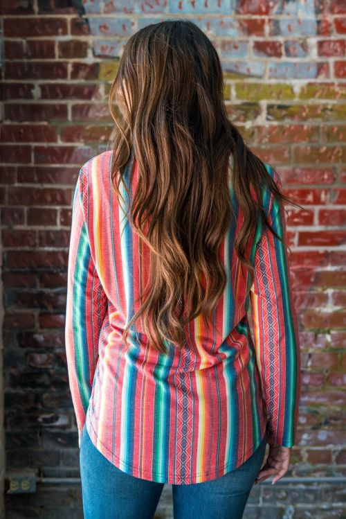 Geronimo Long Sleeve Red Serape V Neck Tunic with Rounded Hem