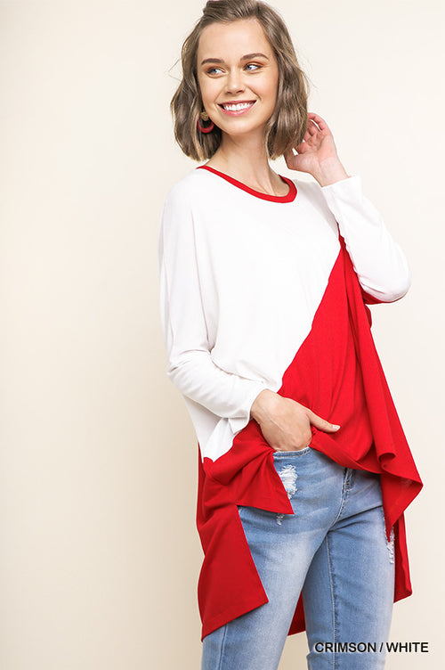 Blank Space Long Sleeve High Low Color Block Top with Side Slits, Crimson Red