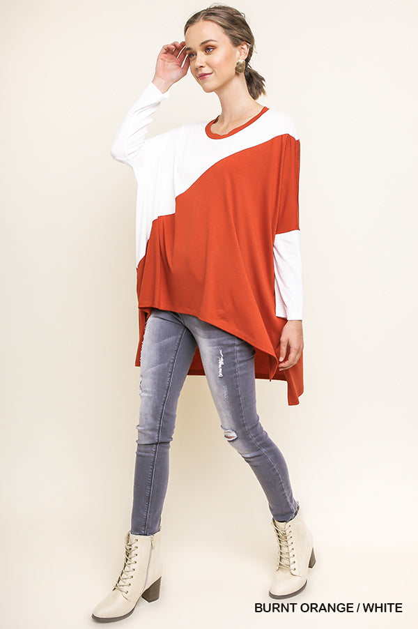 Blank Space Long Sleeve High Low Color Block Top with Side Slits, Burnt Orange