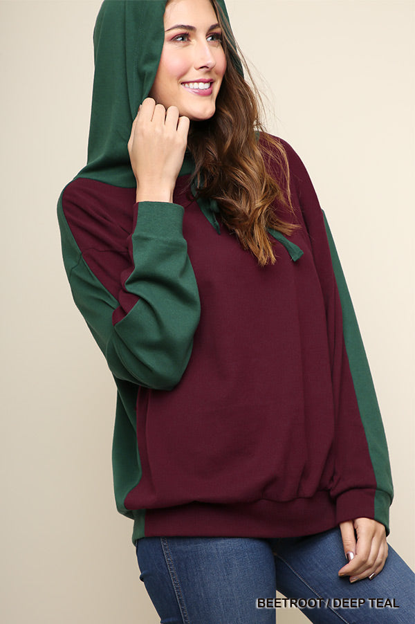 Love Affair 2 Tone  2-Tone Color blocked Long Sleeve Hooded Pullover Top with Drawstring and Grommet Details