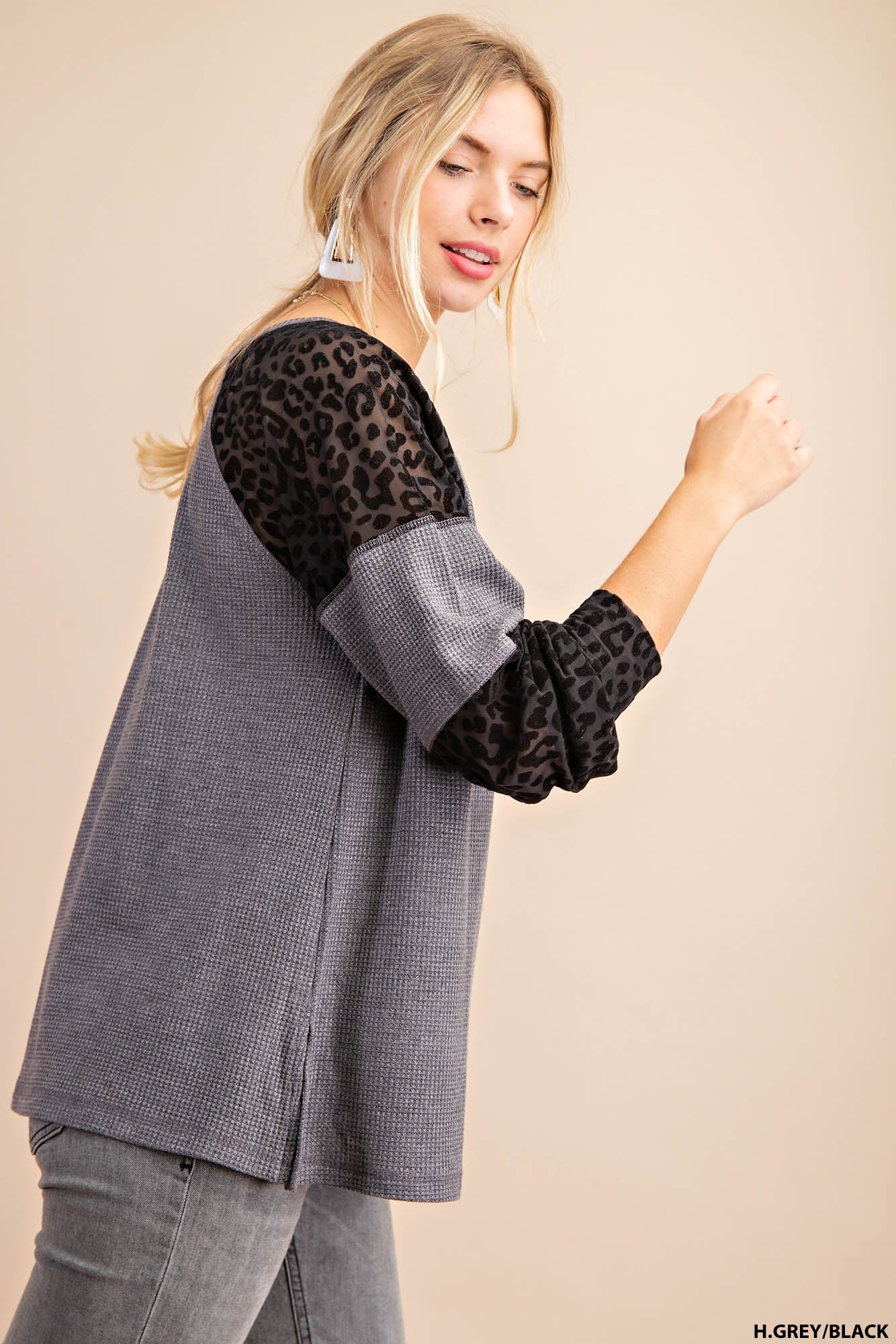 Lovely Day Thermal Long Sleeve Tee with Split Hem and Color Block Detail Cutouts