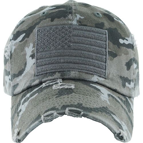 Hammer Time Distressed USA Camo Hat with Adjustable Back