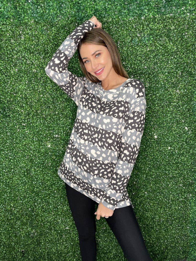 Different Worlds Long Sleeve Hi Lo Split Hem with Contrast Animal Print Detail