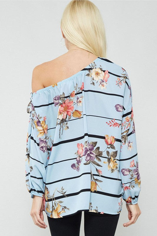 How Does She Off The Shoulder Top, Blue with Black Stripes and Florals