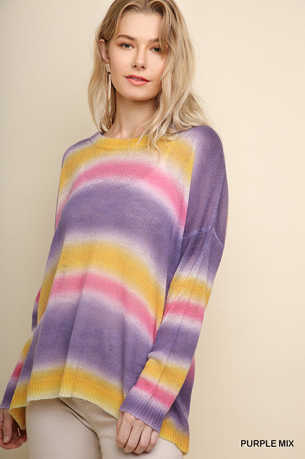 Multicolor Dye Striped Long Sleeve Knit Pullover Sweater