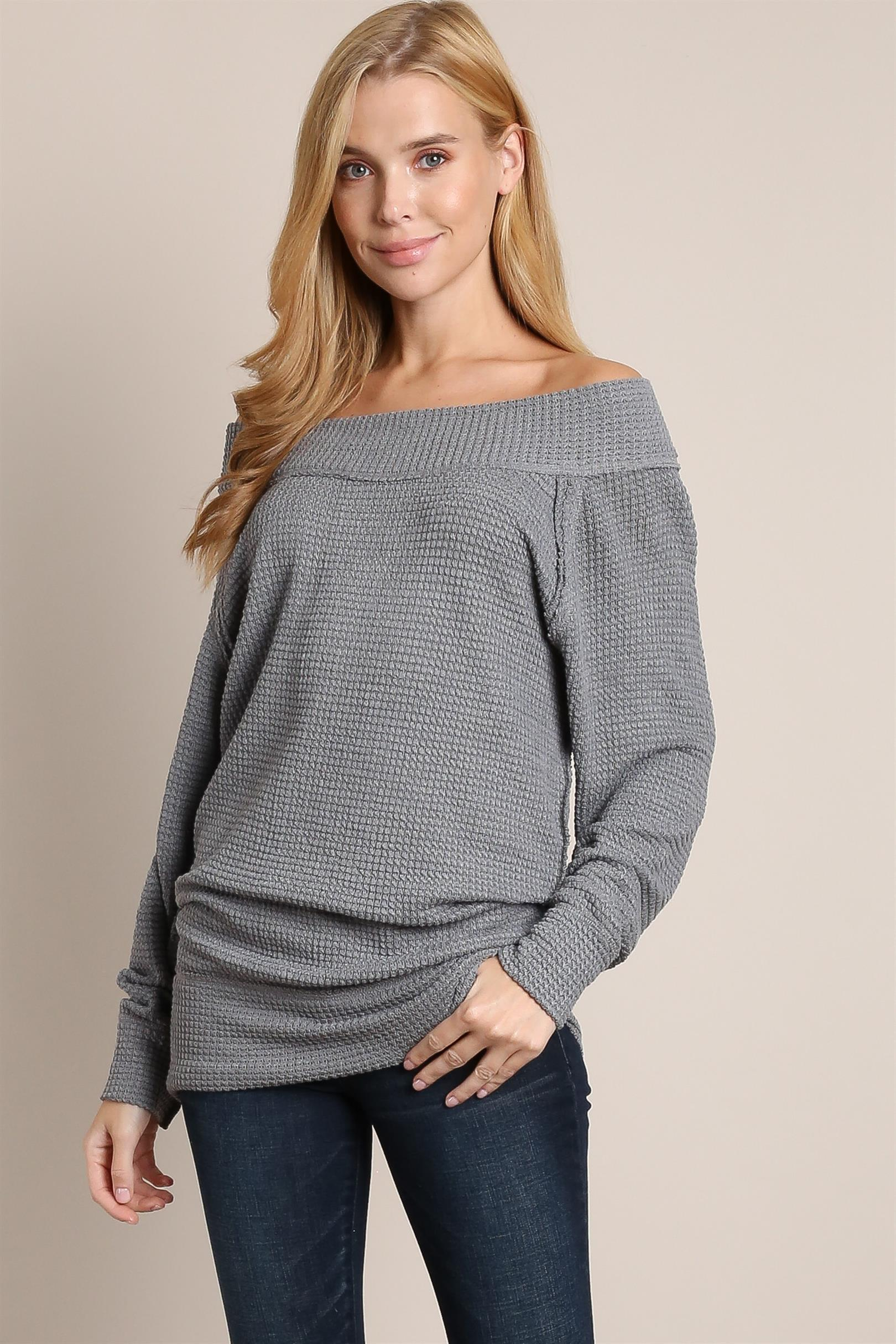 Relax Fit On or Off The Shoulder Knit Top
