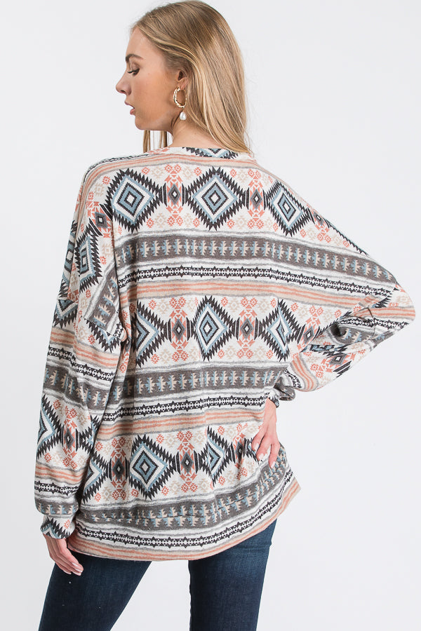 The Wire Aztec Round Neck Long Sleeve Top, Off White