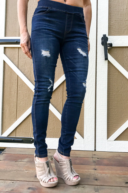 Best Distressed Jeggings, Dark Denim
