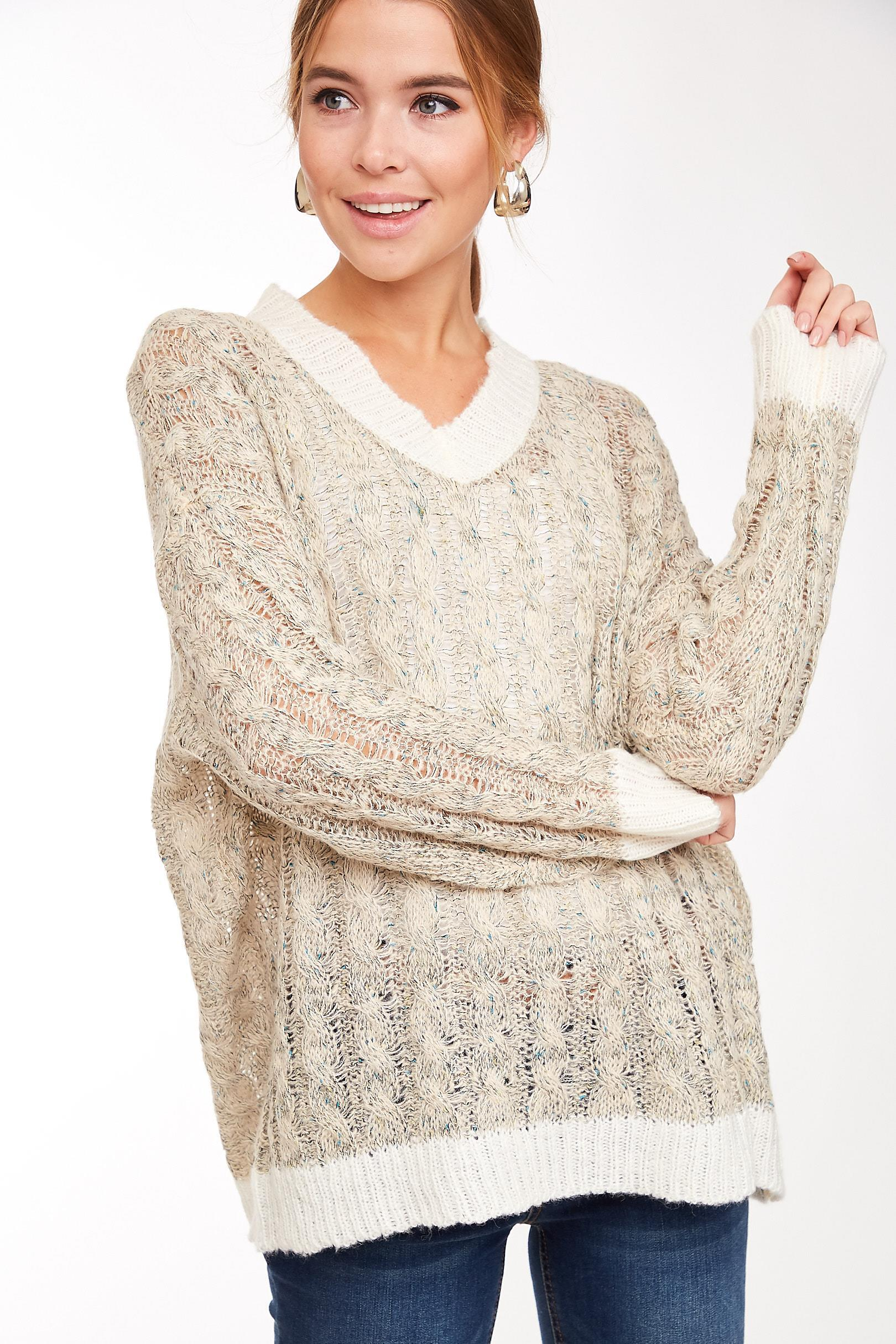 Sing For Me Loose-Knit V Neck Lurex Light Knit Sweater Top