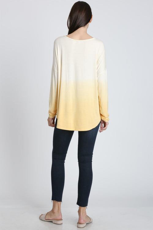 Brighter Days Deep Dye Drop Shoulder Top, Yellow & White