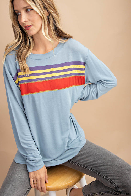 Dusty Blue Simple Long Sleeve Crew with Multi Stripe Chest detail, S-L