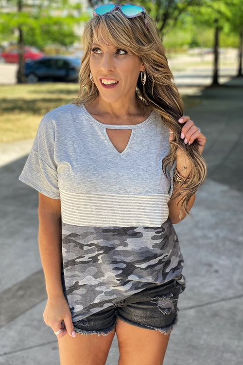 Make It Right Color Block Tunic Top with Keyhole Cutout Detail, Camo