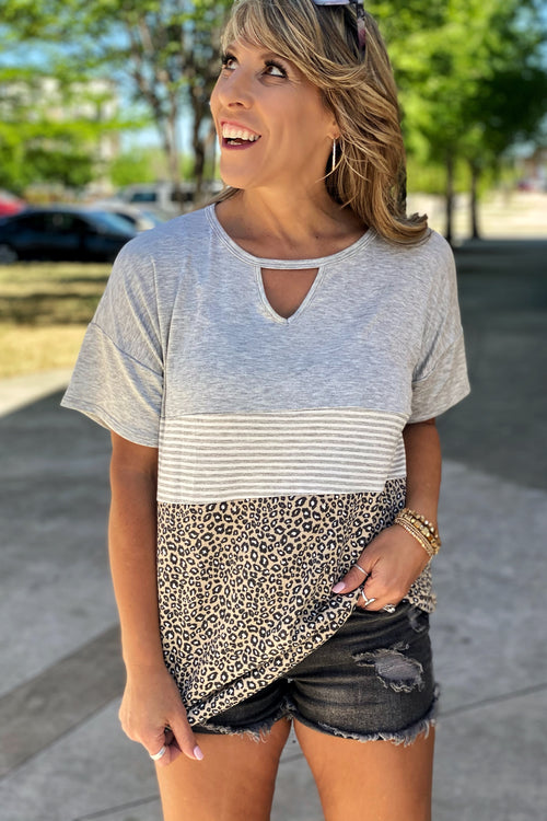 Make It Right Color Block Tunic Top with Keyhole Cutout Detail, Animal Print